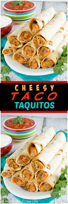 Cheesy Taco Taquitos - these easy rolls are loaded with taco meat, cheese, & tomatoes. Great 30 minute dinner recipe!