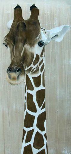 Girafe giraffe Animal painting by Thierry Bisch pets wildlife artist painter canvas art decoration