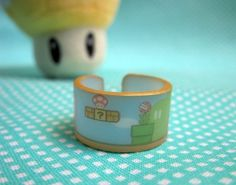 Mario ring with goombas and piranha plants by LiyoLabs on Etsy, $7.00