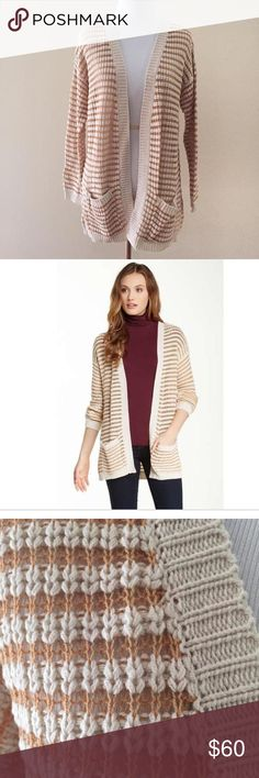 NWT!  Romeo & Juliet Couture Striped Cardigan NWT!  Beautiful loose-knit cream and tan striped, open front cardigan by Romeo & Juliet Couture.  Front patch pockets.  Ribbed trim.  55% cotton, 45% acrylic.  Size S.  65 Romeo & Juliet Couture Sweaters Cardigans