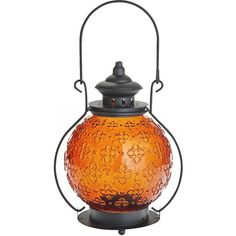 Pier 1 Imports Orange Medallion Glass Lantern (64 PLN) ❤ liked on Polyvore featuring home, home decor, candles & candleholders and orange