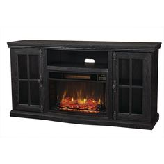Home Decorators Collection Manor Place 67 in. TV Stand Bluetooth Electric Fireplace in Black, Ash Black Big Lots Fireplace, Fireplace Hearth, Home Fireplace, Granite Fireplace, Free Standing Electric Fireplace, Electric Fireplace With Mantel, Natural Gas Fireplace, Contemporary Fireplace Designs, Outdoor Fireplace Designs