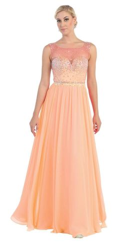 This super cute prom floor length and evening dress features round neckline, beaded rhinestones and mesh on top and pleated chiffon material. This dress is great for wedding, evening party and other s