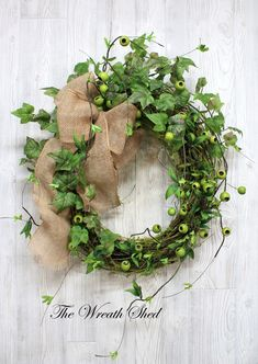 Your place to buy and sell all things handmade Greenery Wreath, Grapevine Wreath, Floral Wreath, Year Round Wreath, Fun Diy Crafts, Burlap Bows, Lush Green, Wreaths For Front Door, Grape Vines