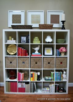 Expedit Bookcase Styling - 3 large photos above