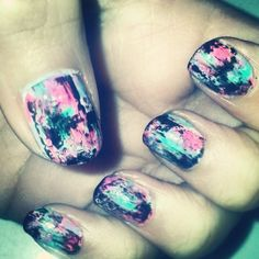Distressed nail art design, ispired by @Chalkboard Nails