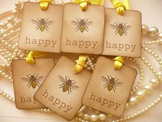 BEE HAPPY TAGS Set of 6 Vintage style gift tags with yellow glitter £3.85