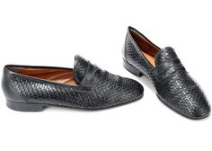 adb8471c2 US men 10 Braided Loafers Black 80s Leather Shoes Retro Italian Shoes Wide  Fit Vintage Woven