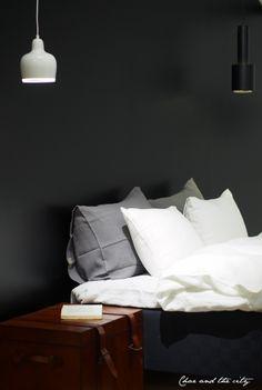 bedroom, Artek lamps, leather chest, linen sheets
