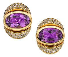 Estate Jewelry:Earrings, Amethyst, Diamond, Gold Earrings, Marina B. ...