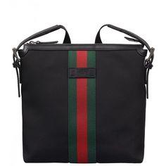 9cb0407cddce Gucci Black Web Band Canvas Small Messenger Bag (2