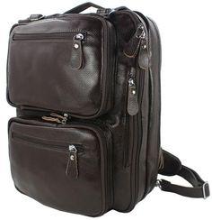 Multifunctional Genuine Leather Backpack Men Backpack Fashion Male School Backpack Travel Bag Large Leather rucksack Big Black