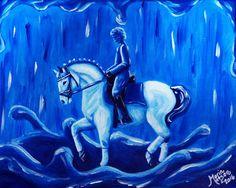 Original 8x10 Acrylic Horse Painting - DROP of DRESSAGE - Rain Bridle Saddle Pad #Abstract