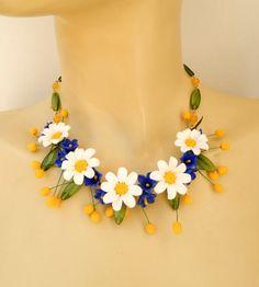 Gänseblümchen Blume Schmuck Daisy Schmuck Anweisung Halskette weiß Schmuck romantisch Schmuck Handmade Halskette Ohrringe Geschenk für Sie