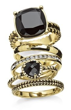 stackable black and gold