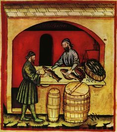 Medieval fish selling. Cooking. Markets