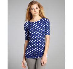 Casual Couture by Green Envelope sapphire and white polka dot stretch jersey boat neck top