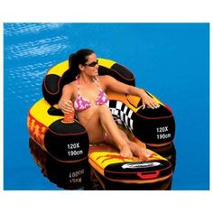 Inflatable Pool Float Chair Cup Holders Raft Swimming Lounger Lake Free Shipping #ad