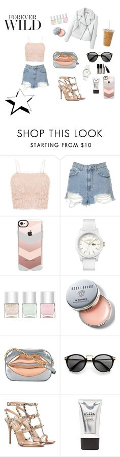 """1-40"" by cbbh on Polyvore featuring Topshop, Casetify, Lacoste, Nails Inc., Bobbi Brown Cosmetics, Charlotte Olympia, Valentino and Stila"