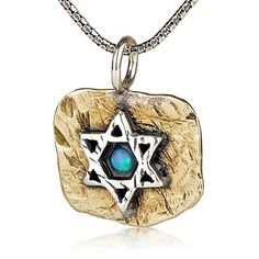 Star of David Necklace with Opal And Brass