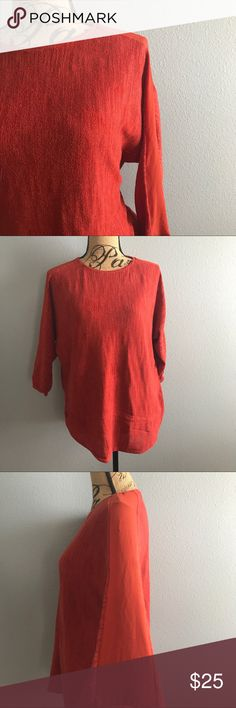 """Anthropologie Moth Winged Top Anthropologie Moth Winged Top, Burnt terra cotta, with sheer sleeves, size M, EUC, Smoke free home.  Chest: 44"""" Length: 26"""" Anthropologie Tops"""