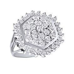 1/4 Ct Round Cut D/VVS1 14K Gold Over Sterling Silver Cluster Ring by JewelryHub on Opensky