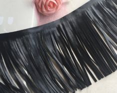 """Black or White Leather macrame lace trim New style Embroidery Lace trim Wedding Clothing dress 5.9"""" Width 1 Yard(DZDC005)"""