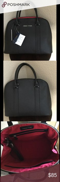 New Adrienne Vittadini Dome Satchel New w tags, see pics, top zipper closure, adjustable removable shoulder strap, Saffiano PU Construction, metal feet on bottom, fully lined interior with one zipper and 2 slip pockets. Adrienne Vittadini Bags