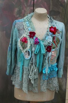 Ocean wrap cardi bohemian romantic altered couture vintage