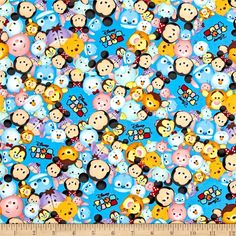 Disney Tsum Tsum Packed With Logo Blue from @fabricdotcom  Designed by Disney and licensed to Springs Creative Products, this cotton print fabric is perfect for quilting, apparel and home decor accents. Due to licensing restrictions, this item can only be shipped to USA, Puerto Rico, and Canada. Colors include blue, beige, orange, red, pink, yellow, brown, and black.