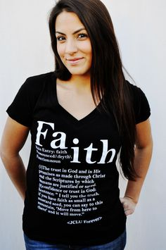 FAITH DEFINED V Neck-Christian T-shirt by JCLU Forever Christian t-shirts $17.99
