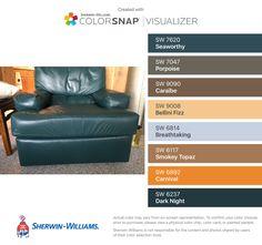 I found these colors with ColorSnap® Visualizer for iPhone by Sherwin-Williams: Seaworthy (SW 7620), Porpoise (SW 7047), Caraïbe (SW 9090), Bellini Fizz  (SW 9008), Breathtaking (SW 6814), Smokey Topaz (SW 6117), Carnival (SW 6892), Dark Night (SW 6237).