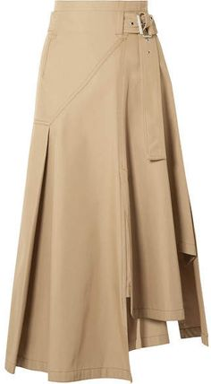 This great khaki midi skirt is anything but simple.  Wear a nice white blouse in super-soft modal, silk, or a satiny material with nude heeled sandals in Summer or brown boots in Winter, and let this great skirt be the focal point of your outfit.