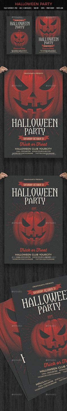 Halloween Party — Photoshop PSD #halloween Night #horror night • Available here ➝ https://graphicriver.net/item/halloween-party/20596237?ref=pxcr