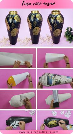 Cool Paper Crafts, Vase Crafts, Paper Mache Crafts, Newspaper Crafts, Newspaper Basket, Diy Crafts Hacks, Diy Home Crafts, Diy Crafts To Sell, Wine Bottle Art