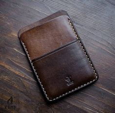 Wallet / card holder made from veg tanned leather. It is dyed brown and oiled, so it will create nice patina over time. ****************************************************************************** Please be aware, that due to hand made nature, color and Leather Front Pocket Wallet, Leather Wallet Pattern, Handmade Leather Wallet, Leather Card Wallet, Slim Wallet, Men Wallet, Minimalist Wallet, Leather Projects, Leather Accessories