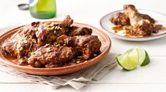 Fire-roasted tomatoes, chipotle chiles in adobo, chocolate and spices melt together in your slow cooker to create a deep, decadent mole sauce. Guests will swoon when they get a whiff!