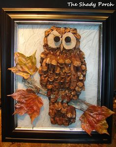 pine cone owl...all natural elements used in making the owl (bark, leaves, wood chips & pine cones)