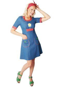 061881ab2ee9 Siri S Design kjole Daisy Denim 14   dress   blå denim kjole med hvid blomst