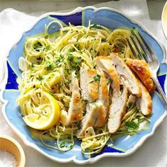 Lemon Chicken Pasta Recipe -My grandmother made chicken wings and served them over rice. To speed things up, I cook lemony chicken breasts and serve them over capellini pasta. —Aileen Rivera, Bronx, New York