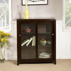 Essex Coffee Brown Medium Storage Media Cabinet & Buffet- (36 inches wide x 15 inches deep x 42.75 inches high) to replace the busted cheap storage cabinet in the living room...