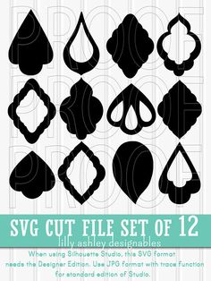 SPECIAL NOTES: >Zip files must be unzipped after download. If unable to download zip files, contact us to have files emailed to you. >If using a Silhouette, the Designer Edition of Studio is needed to use SVG files. -----WHATS INCLUDED: >Twelve separate cut files. >SVG, PNG, and JPG