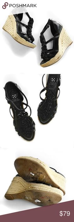 Vince camuto black leather floral wedges Super chic summer staple! No trades. All photos are of actual item. Always open to offers Vince Camuto Shoes Wedges