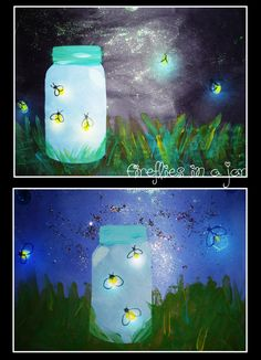 Fireflies How to: make jar on a separate piece of paper. Create wings and head for fireflies with sharpie and add yellow dots (paint) for body. Tissue paper overtop to give jar color. Cut out jar and glue to dark blue/black background and add grass with paint, add shimmer to sky with metallic paint