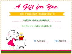 Free Printable Birthday Gift Certificate Template Home Improvement