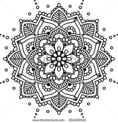 Simple floral mandala, black on the white background - stock vector