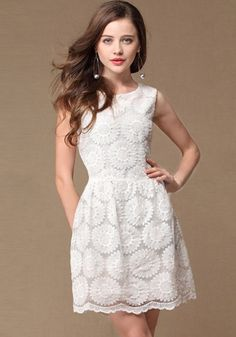 Super Cute! White Sunflower Embroidery Zipper Sleeveless Lace Dress #Cute #Summer #Fashion
