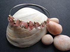 Rose Quartz Bangle // Wire Wrap Bracelet // Silver Steel Wire // Beaded Bracelet // Salty Sparrow Designs on Etsy, $12.00