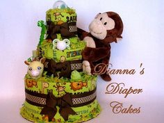 http://cakedecoratingcoursesonline.com/cake-decorating/ Safari Monkey Baby Diaper Cake Shower Gift Centerpiece. Do you want your #personal #Baby #Shower #cake? - Get best Cakes Decoration #Tutorials on http://CakeDecoratingCoursesOnline.com - Join now!