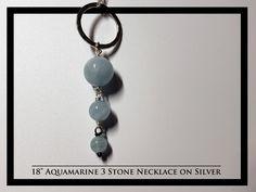 Aquamarine 3 Stone Drop Necklace on Silver Chain and Earrings Rock Necklace, Stone Necklace, 18th, Rocks, Necklaces, Drop Earrings, Chain, Silver, Jewelry